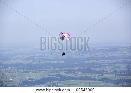 Paragliders Flying Over Bavarian Mountains