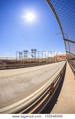 Road And Energy Infrastructure Against Sun, Fisheye Concept Photo.