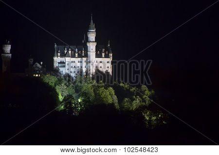 Castle Neuschwanstein At Night