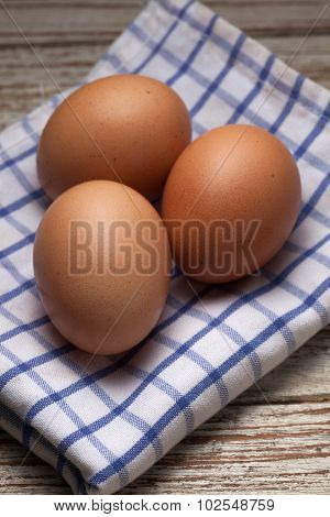 Cooking Eggs Napery Kitchen Wood Teak Vintage Still Life Background