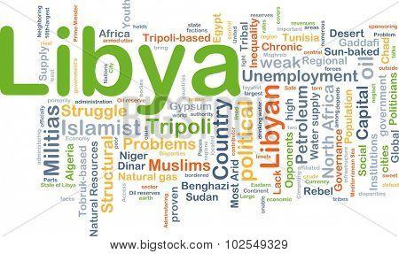 Background concept wordcloud illustration of Libya