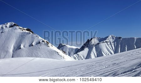 Panoramic View On Ski Slope At Nice Day