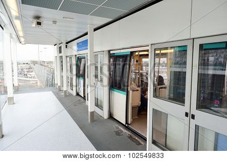 PARIS - AUGUST 08, 2015: train to metro from Orly airport. Paris Orly Airport is an international airport located partially in Orly and partially in Villeneuve-le-Roi, 7 NM south of Paris, France