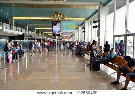 PARIS - AUGUST 08, 2015: Orly Airport interior. Paris Orly Airport is an international airport located partially in Orly and partially in Villeneuve-le-Roi, 7 NM (13 km; 8.1 mi) south of Paris, France