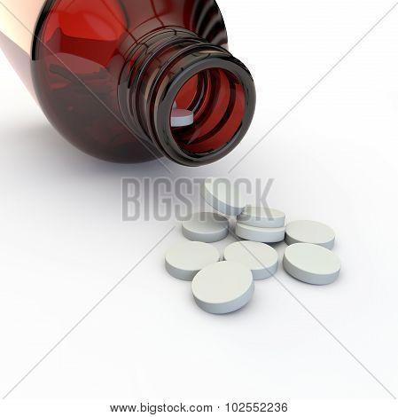 Pills Spilled Out Of A Glass Jar