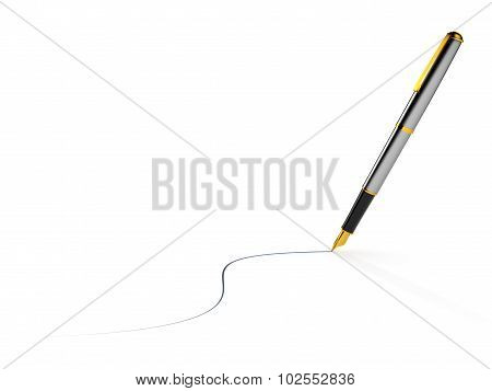 High end pen drawing blue ink line isolated on white background.