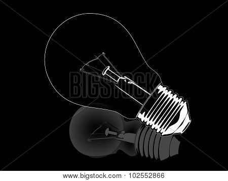 White and black opposite reflection lightbulb illustration isolated on a black background.