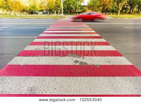 Red And White Pedestrian Crossing