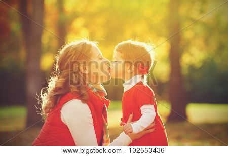 Happy Family. Mother And Child Little Daughter Play Kissing On Autumn