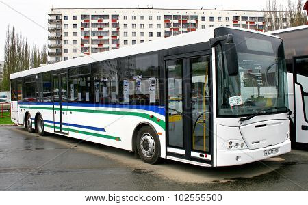 UFA, RUSSIA - MAY 11: City bus NEFAZ 52998 (VDL Transit) exhibited at the annual Motor show