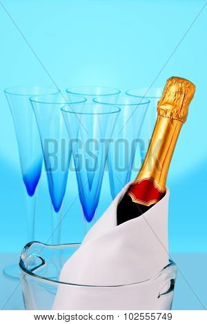 Champagne bottle and beautiful glasses
