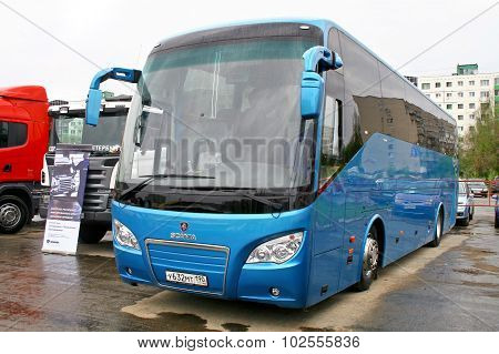 UFA, RUSSIA - MAY 11: Interurban coach Scania Higer A80 exhibited at the annual Motor show