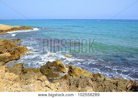 Rocks On The Coast Of Aegean Sea.