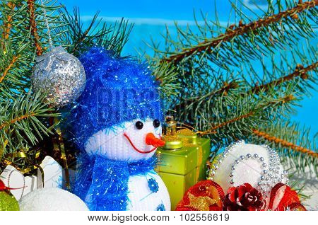 Snowman, Christmas Decorations And Pine Branch