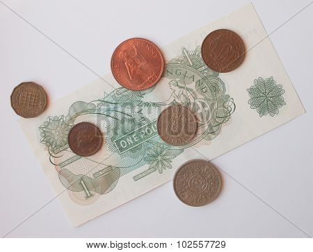LONDON UK - CIRCA 1970: one Sterling Pound (GBP) note and coins