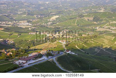 Langhe, Barolo vineyards summer panorama. Color image
