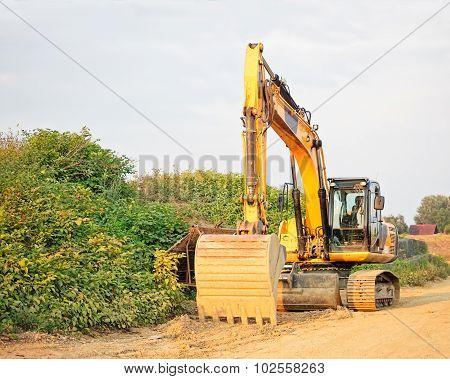 Yellow Crawler Excavator