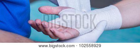 Bandage On Wounded Hand
