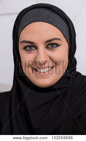 Smiling Arabic Woman Wearing Hijab