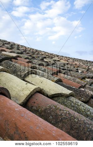 Old tiled roof. Color image
