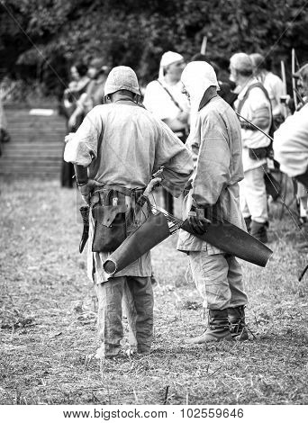 Medieval archers. Black and white photo