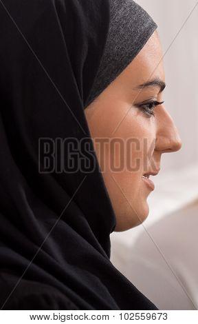 Islamic Woman In Traditional Headscarf