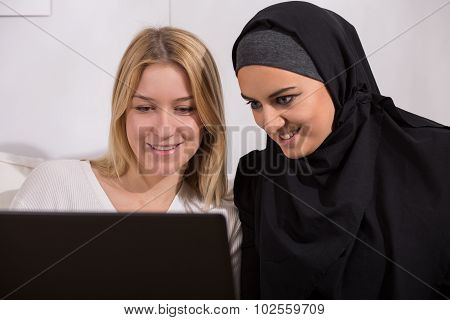 Arabic And European Women Watching