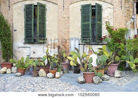 Lu Monferrato: old house facade. Color image