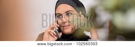 Modern Arabic Woman Taking