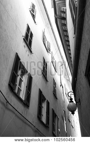 Novara, old city view. Black and white photo