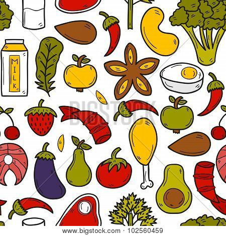 Seamless background with objects in hand drawn style on paleo diet theme: meat, fish, fruits, vegeta