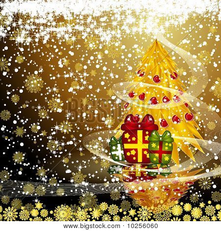 Fairy Golden Christmas Tree With Gifts On A Dark Snow Background. Vector Eps10 Illustration
