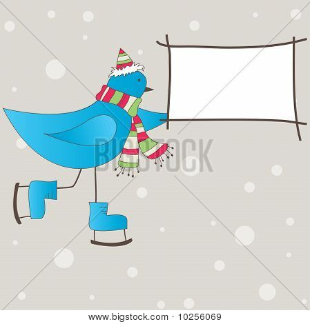 Blue bird with message. Vector illustration