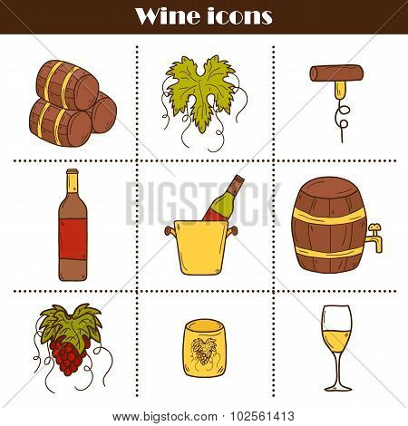 Set of cartoon wine icons in hand drawn style: bottle, glass, barrel, grapes, corkscrew. Vineyard or