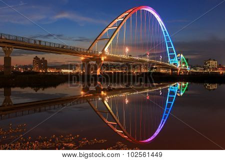 The Moon Shape Bridge At New Taipei City, Taiwan