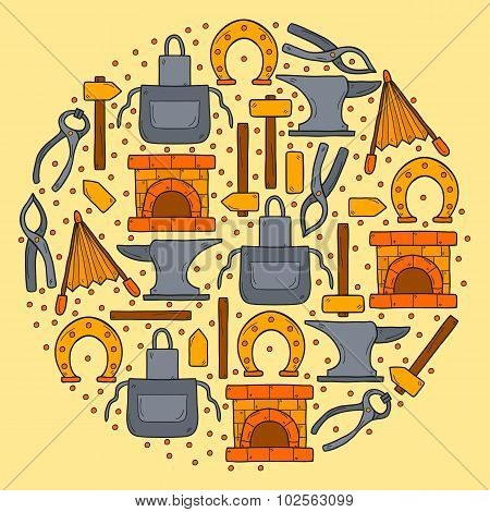 Vector background with hand drawn style objects in round shape on blacksmith theme: horseshoe, sledg