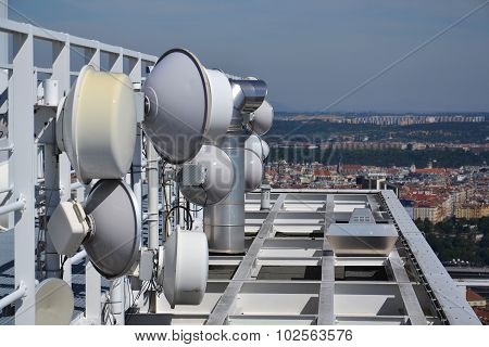 Bunch Of Transmitters And Aerials On The Skyscraper