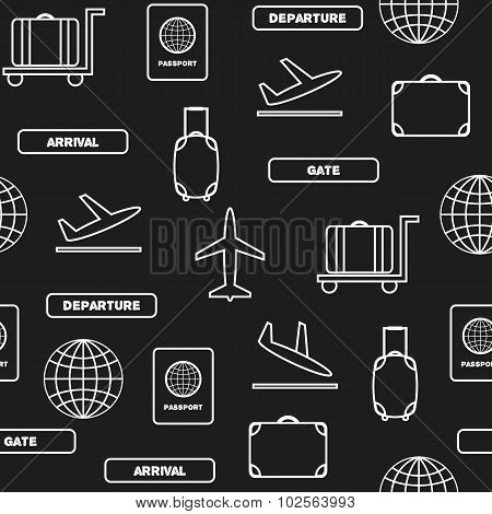 Seamless background in line style on airport theme. Travel and work concept