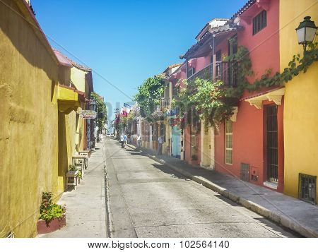 Colonial Style Colorful Houses In Cartagena De Indias Colombia