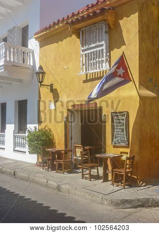 Colonial Style Architecture In Cartagena De Indias Colombia