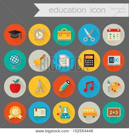 Detailed education icon set