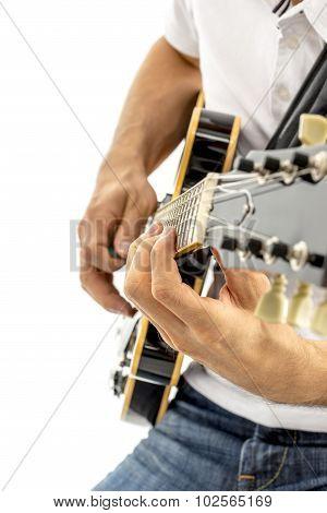 Closeup Of Jazz Guitarist Playing Guitar