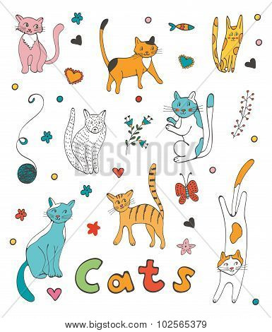 Cute colorful set  of hand drawn cats