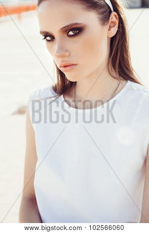 Outdoor Summer Portrait Of Young Pretty Cute Girl