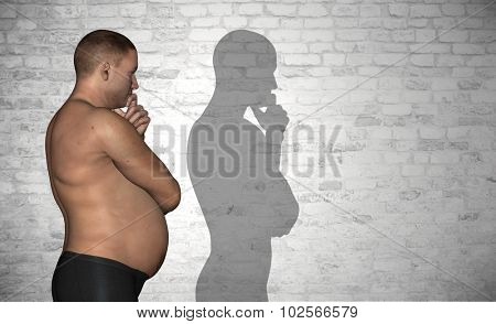 Concept or conceptual 3D fat or overweight and slim fit young man on diet over vintage brick wall background