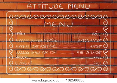 Funny Attitude Menu: Work For Success Or Fail For Free