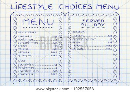 Humorous Menu With Possible Lifestyle Choices And Their Value