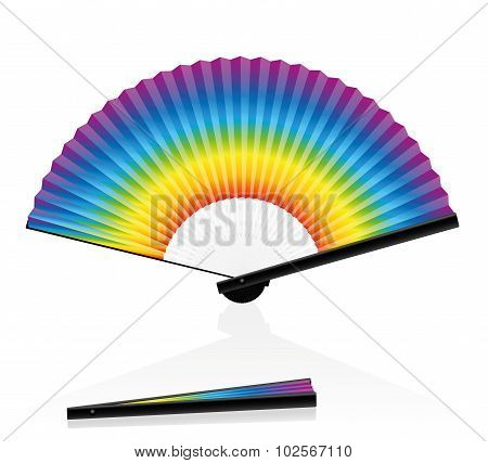 Hand Fan Colorful Rainbow Gradient