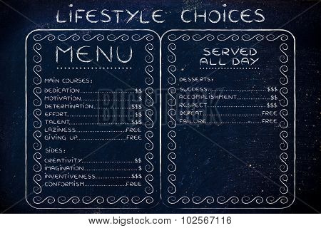 Humorous Menu With Possible Lifestyle Choices And The Effort (or Cost) They Require