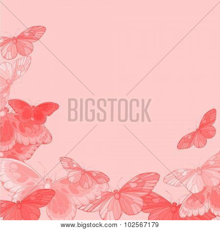 Beautiful pink background with butterflies (raster version)